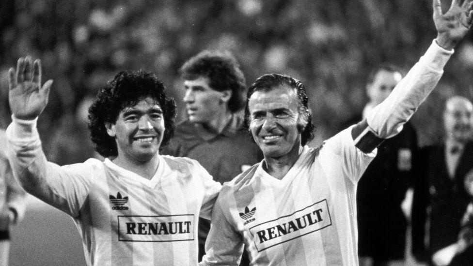 President Carlos Menem seen alongside legendary footballer Diego Maradona