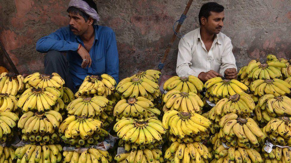 Two men selling bananas