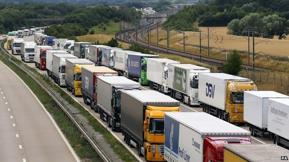 Lorries parked on the M20 near Charing, Kent, as part of Operation Stack