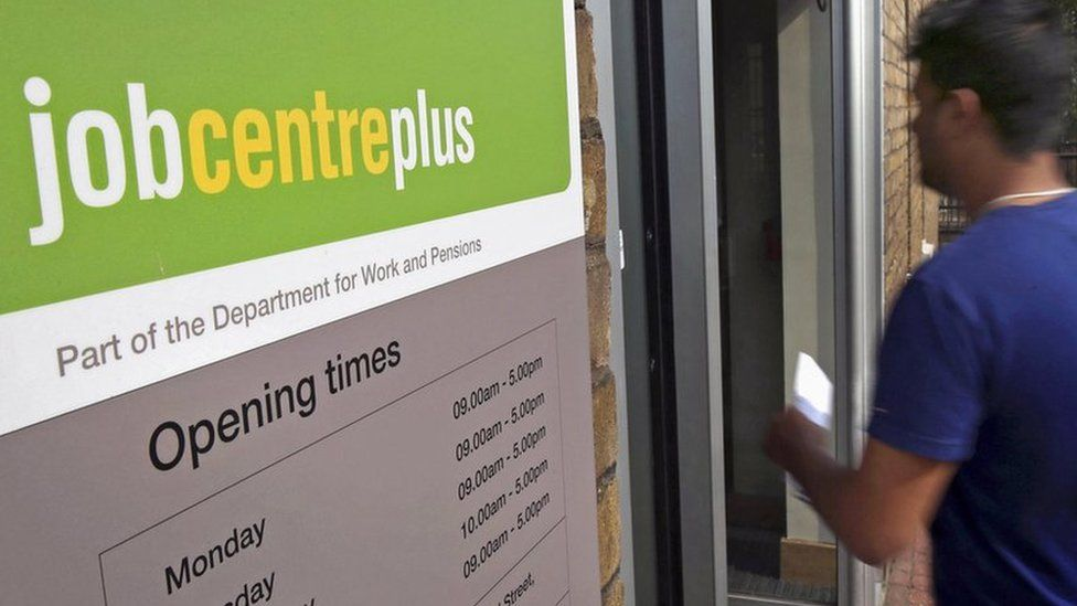 File photo of the entrance to a Jobcentre Plus