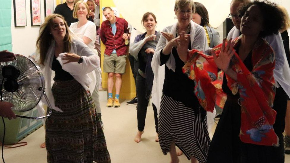 People danced to Wuthering Heights by Kate Bush during the South Square Centre's birthday party for Emily Bronte