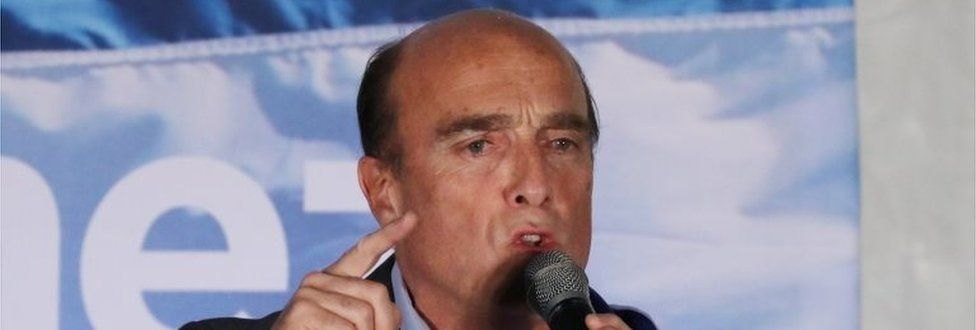 Daniel Martínez speaks after the first round of the election in Uruguay
