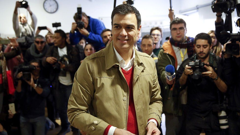 PSOE leader Pedro Sanchez votes in Pozuelo de Alarcon, near Madrid. 20 Dec 2015