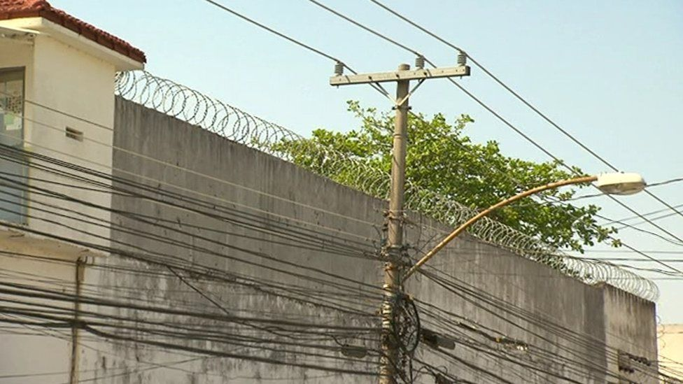 Barbed wire surrounds the hospital at the Bangu penitentiary complex