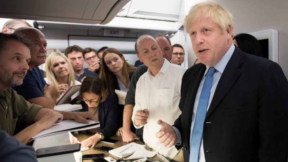 Boris Johnson onboard Voyager plane