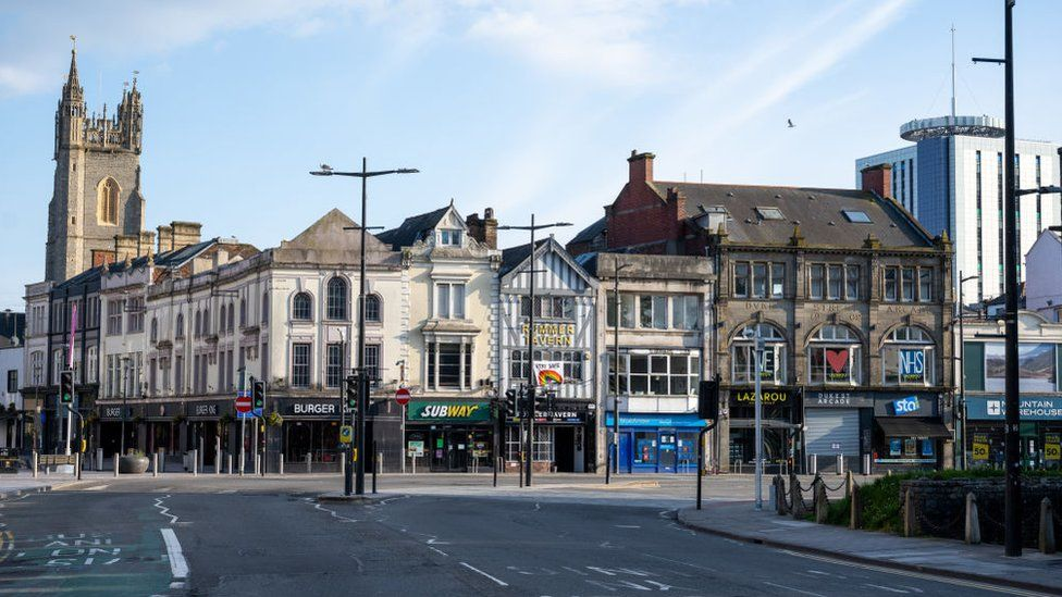 The deserted Cardiff town centre
