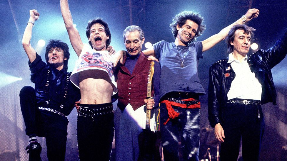 The Rolling Stones on stage in 1989