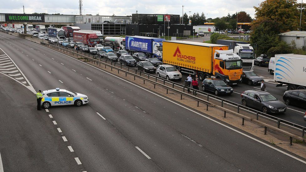 Queued traffic on the M1