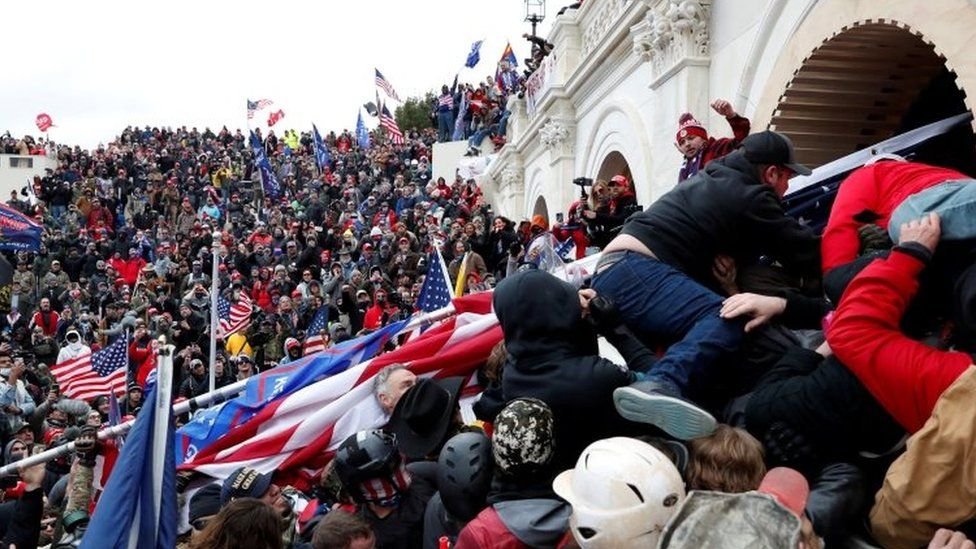 Pro-Trump protesters storm into the U.S. Capitol during clashes with police, during a rally to contest the certification of the 2020 U.S. presidential election