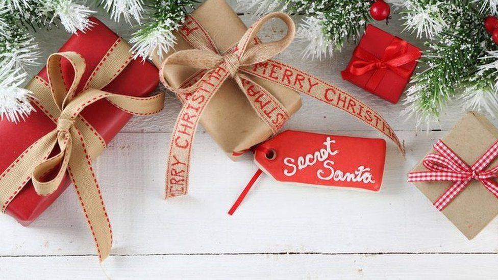 Gifts and a secret santa label