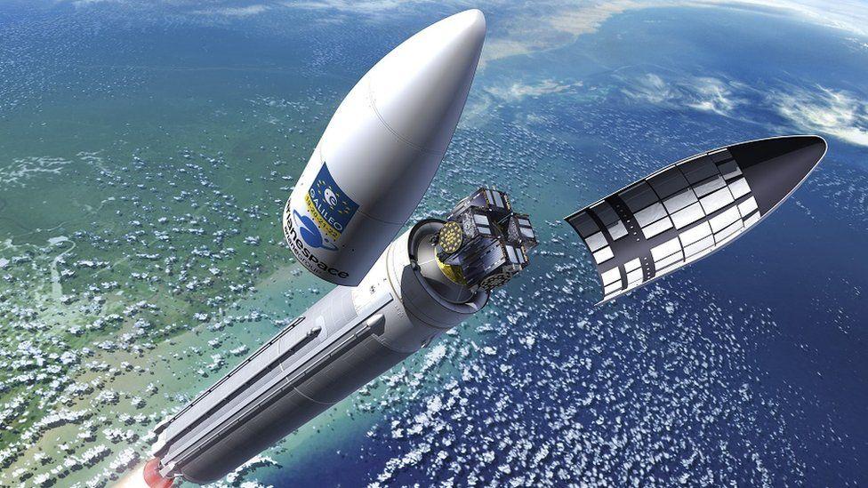 Artwork: Galileo satellites are now launching on Europe's premier rocket, the Ariane 5
