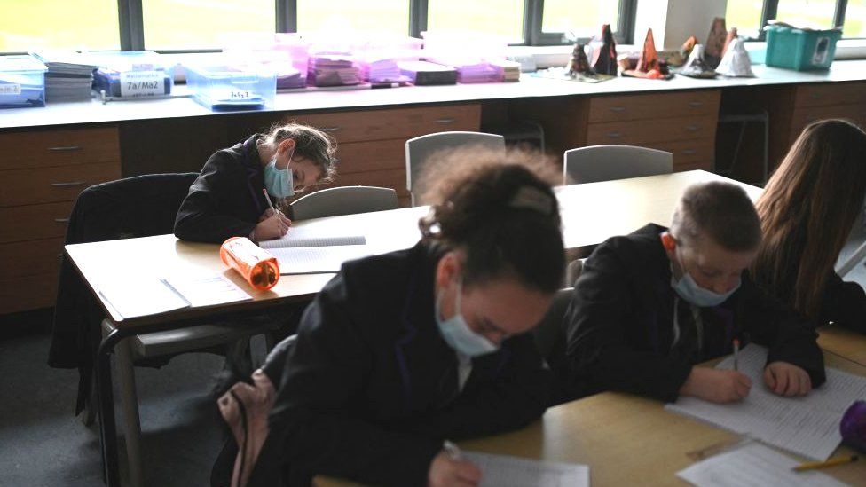 School pupils in face masks
