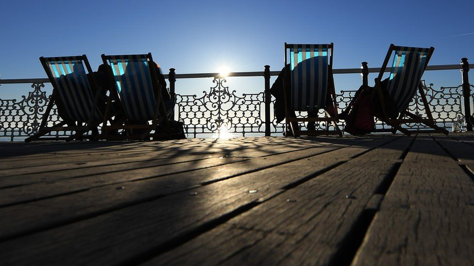 Deckchairs on Palace Pier, Brighton, on 25 February 2019