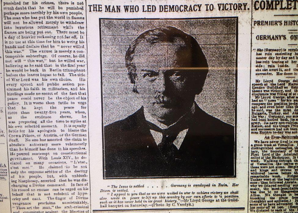 Picture of David Lloyd George in newspaper