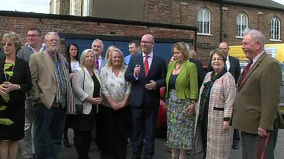 Paul Nuttall with UKIP councillors and supporters