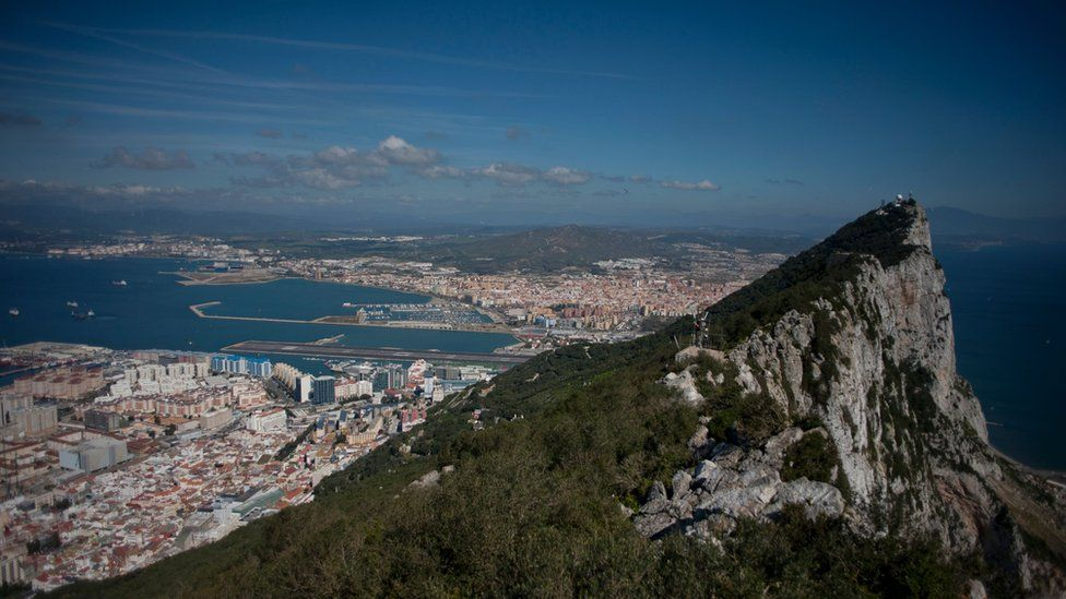 Rock of Gibraltar with Spain in background.