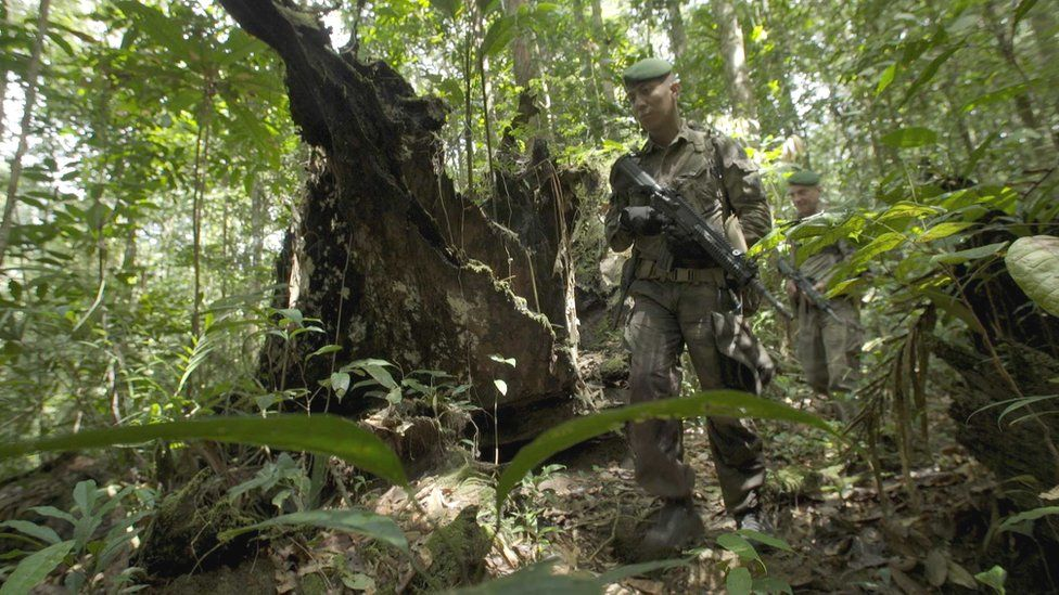 Members of the French Foreign Legion on patrol on French Guiana