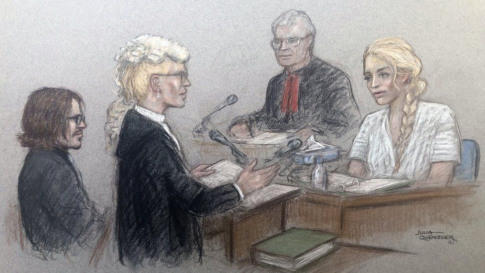 Court drawing / sketch of Amber Heard (left) giving evidence in the Johnny Depp libel case against The Sun.