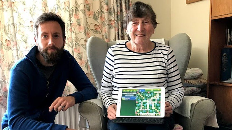 Ian Pym with his mum Christiane, who has played over 21,000 games of Scrabble on the EA app