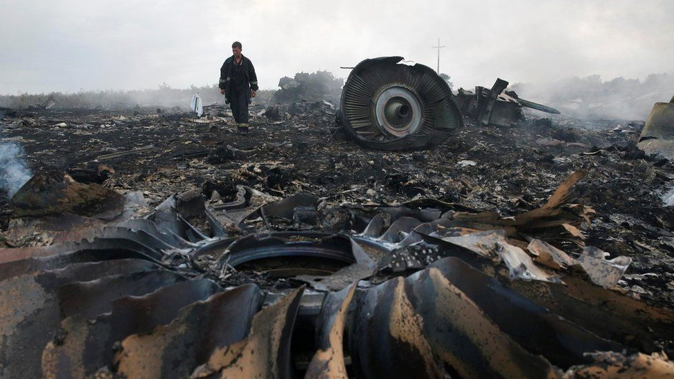 The wreckage of flight MH17, shot down over eastern Ukraine in 2014
