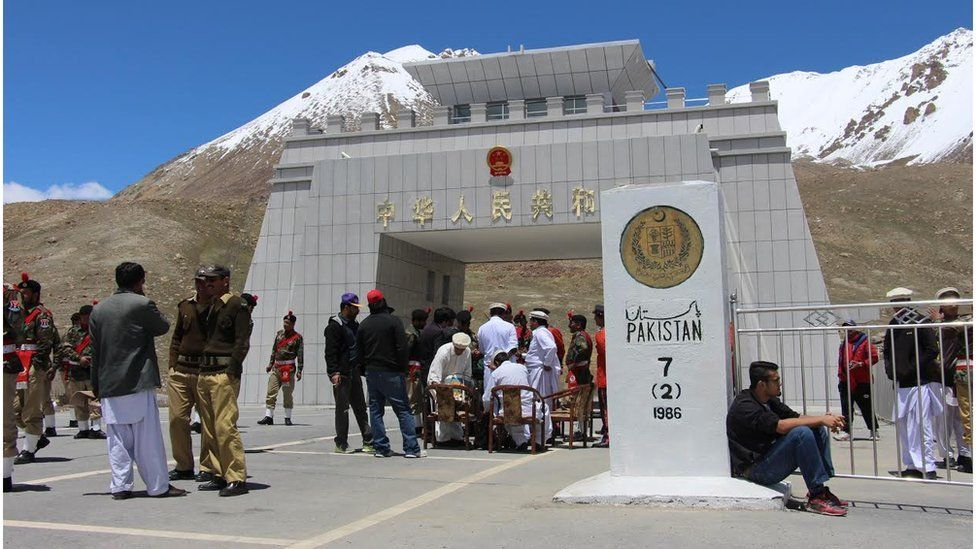 A border post between China and Pakistan