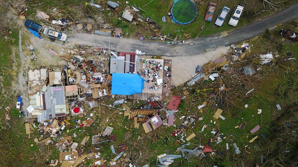 A house destroyed by Hurricane Maria is seen in Corozal, located west of San Juan, Puerto Rico.