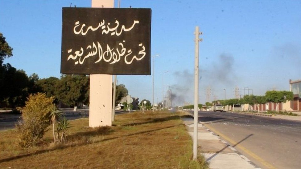 Sign on the outskirts of Sirte (09 June 2016)