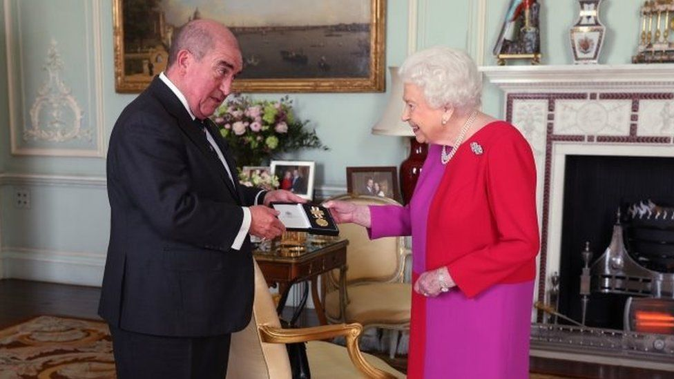 The Queen with Professor Mark Compton, Lord Prior of the Order of St John, on 11 March 2020