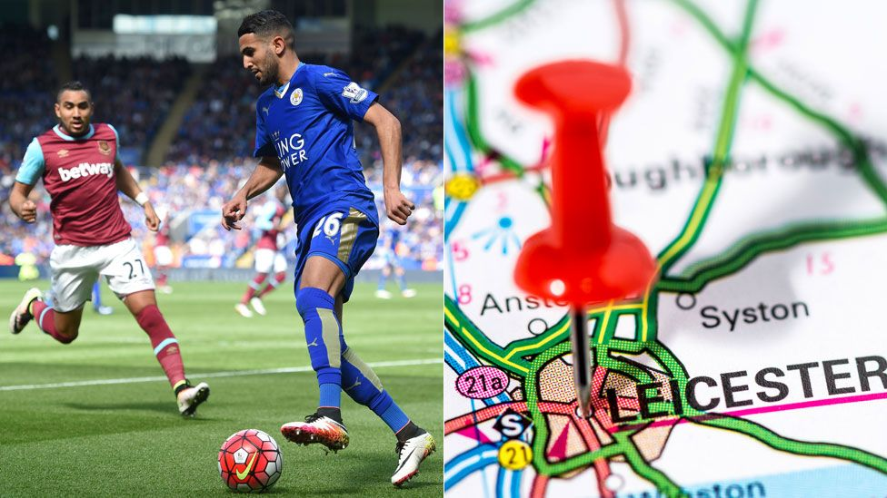 Riyad Mahrez and a map showing Leicester