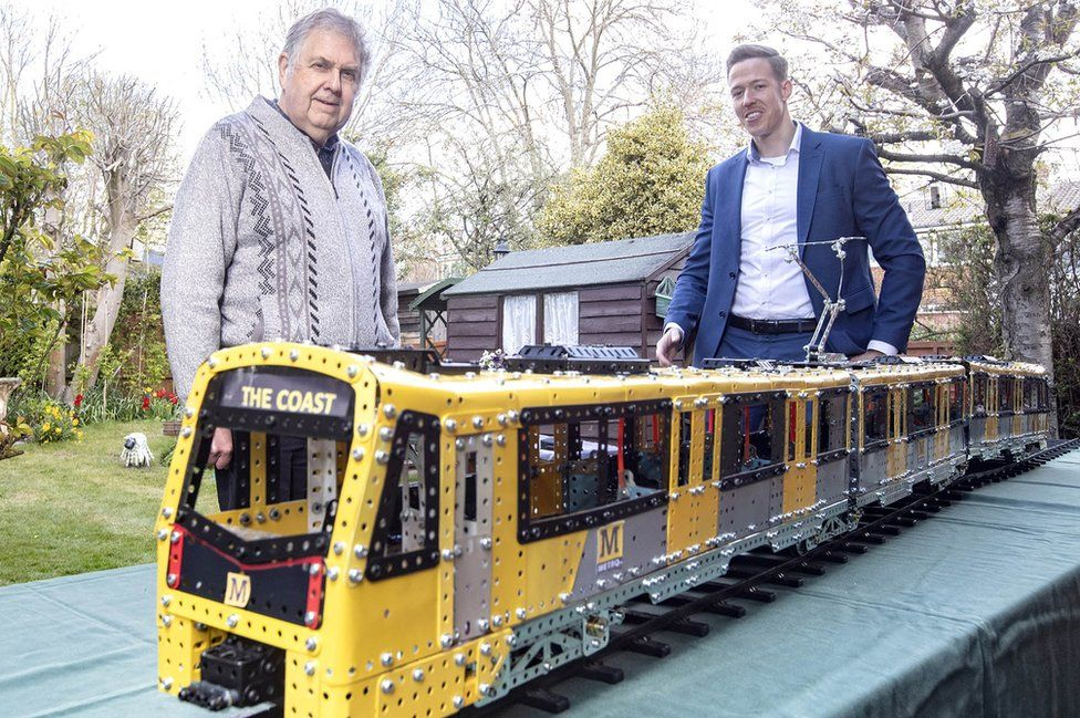 The Meccano Metro replica with John Herdman (left) and Michael Steiner, deputy programme director at Stadler