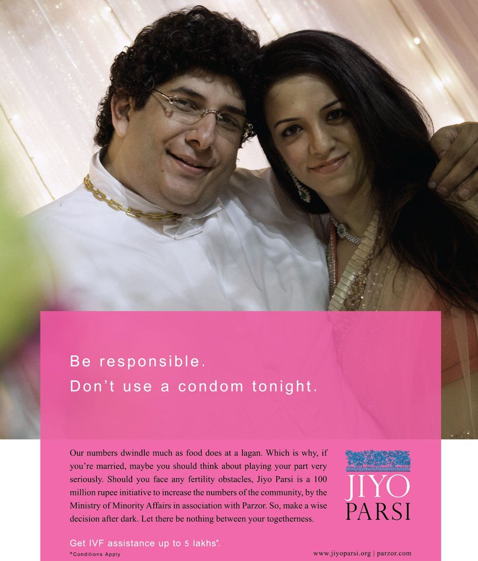 A Jiyo Parsi advert encouraging married Parsi couples to have more children - it offers financial help with fertility treatment
