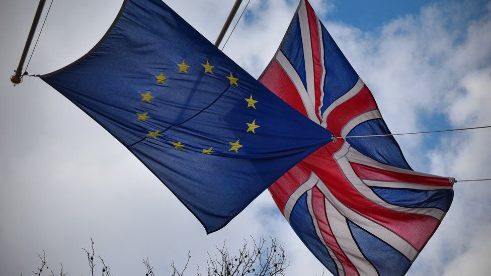 EU flag and and the union jack flag