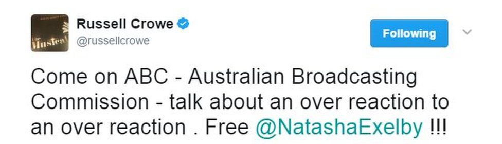 """A tweet by Ruseell Crow says: """"C'mon ABC - Australian Broadcasting Commission - talk about an over reaction to an over reaction [sic]. Free @NatashaExelby!!!"""""""