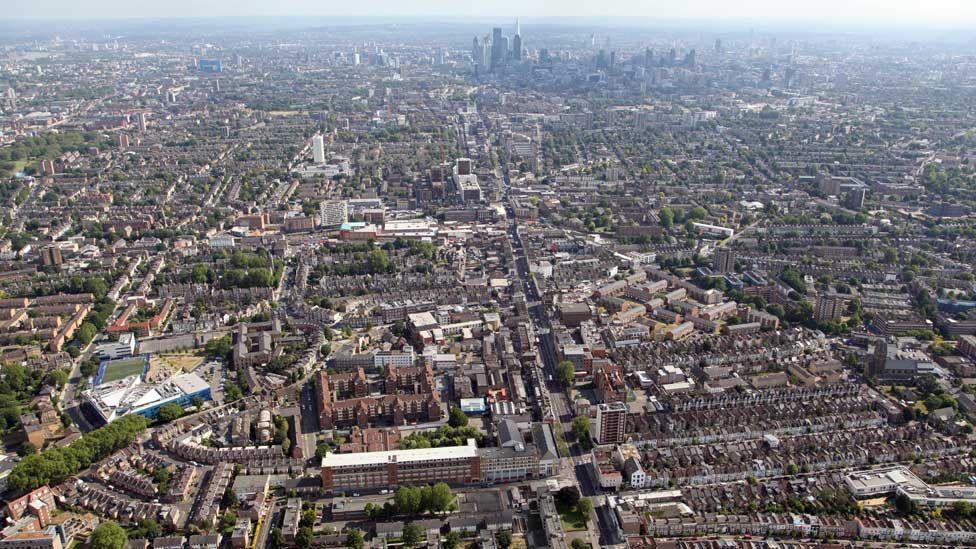 Aerial shot of London looking across Stoke Newington towards the city