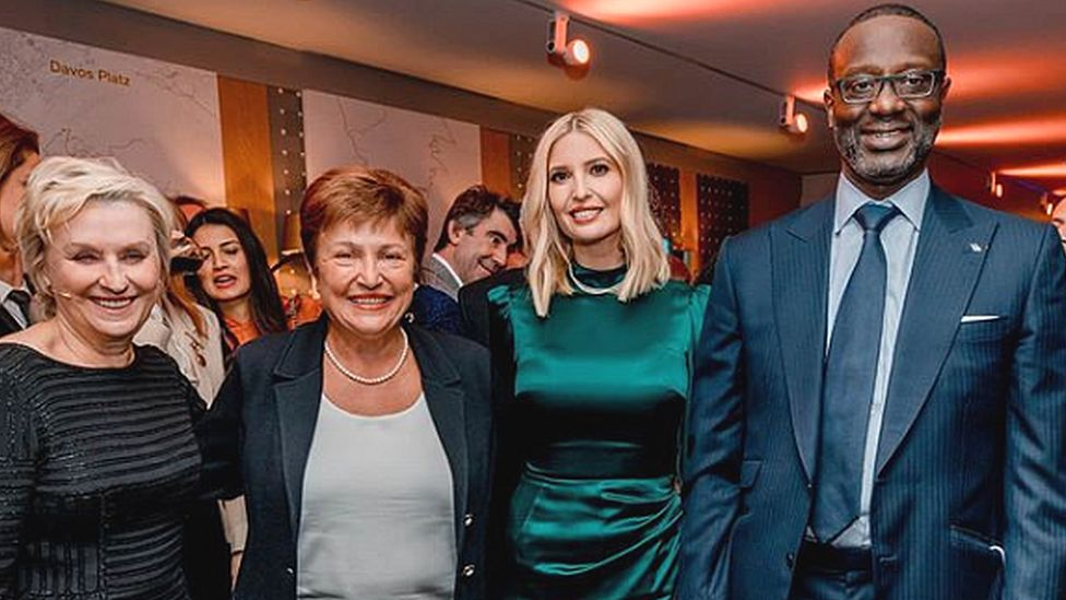 Credit Suisse boss Tidjane Thiam posted a picture of himself with (r-l) Ivanka Trump, IMF boss Kristalina Georgieva and journalist Tina Brown