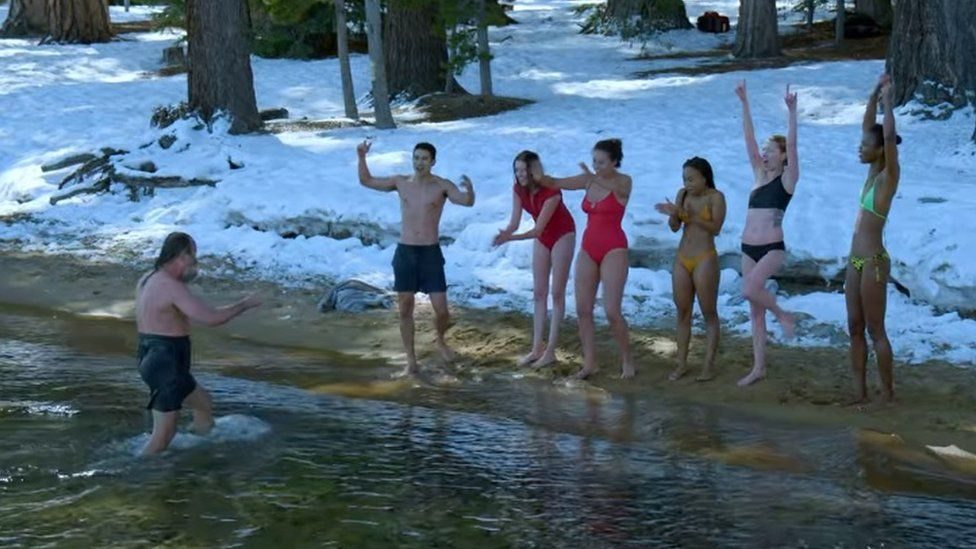 Mr Hof leading a group through cold water therapy