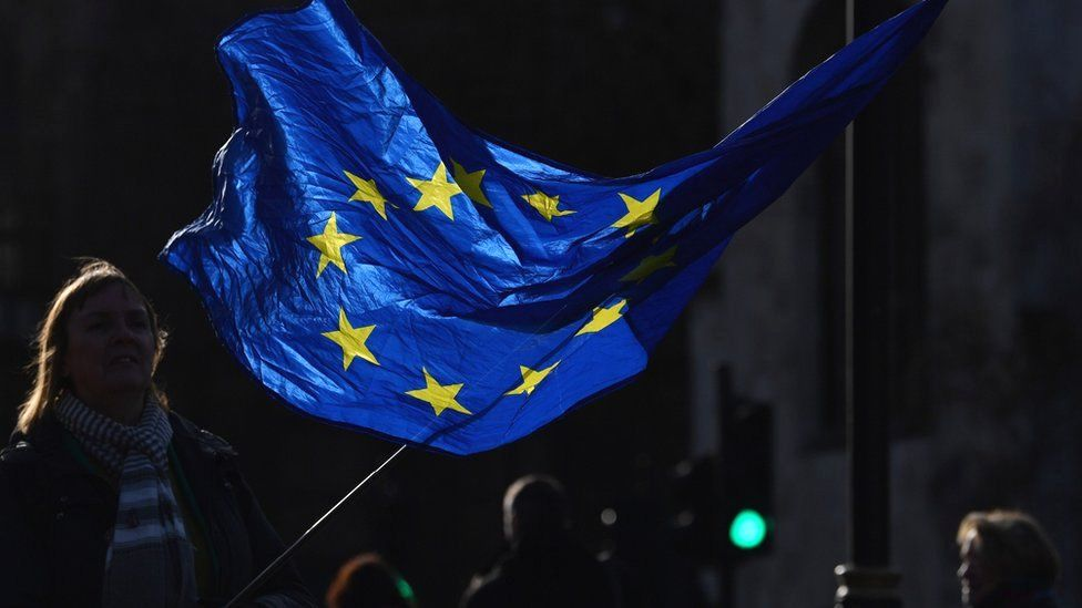 A pro-EU anti-Brexit protester waves an EU flag outside the Houses of Parliament in central London, 15 January 2020