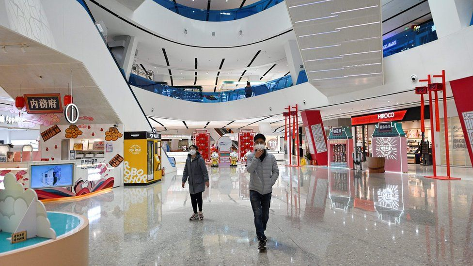 A mall in Beijing March 12