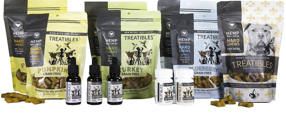 A picture showing the Treatibles product range, including pumpkin, turkey and blueberry dog treats, tinctures, and capsules