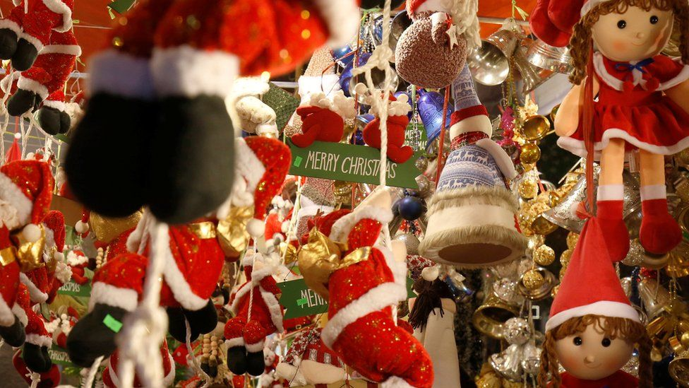 The inside of a Christmas decoration shop