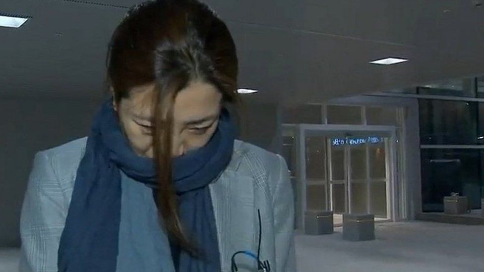 Cho Hyun-min, a senior vice president at Korean Air Lines and a daughter of its chairman Cho Yang-ho, arrives at Incheon International Airport in Incheon, South Korea.