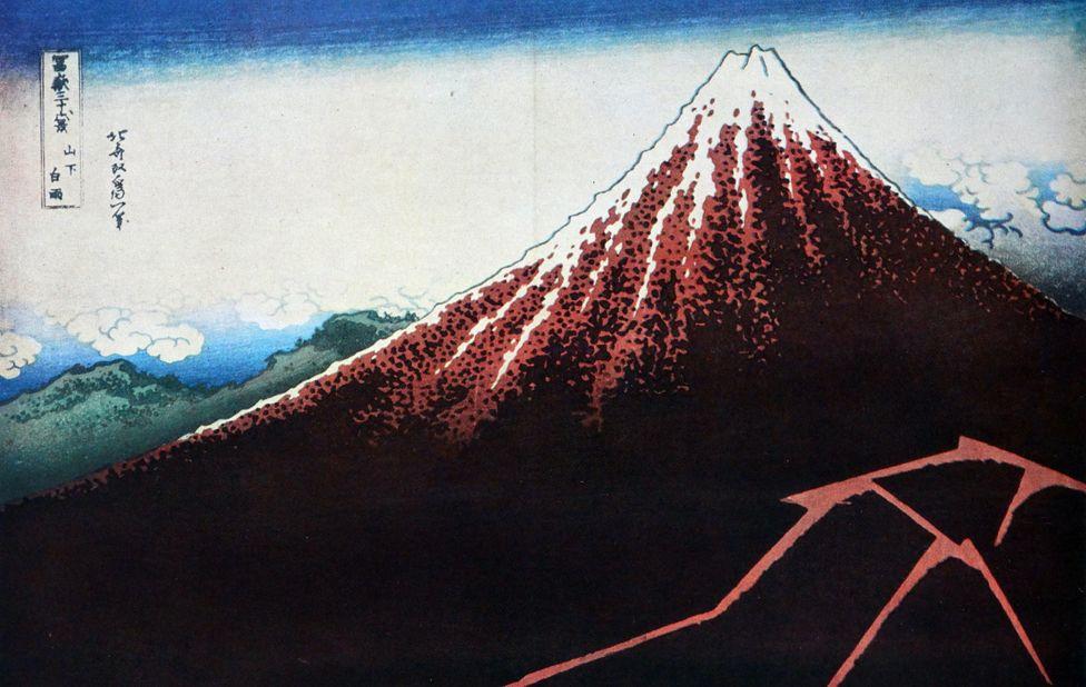"Hokusai Shower Below the Summit (Sanka hakuu), from the series ""Thirty-Six Views of Mount Fuji (Fugaku sanjurokkei)"", c. 1830-33"