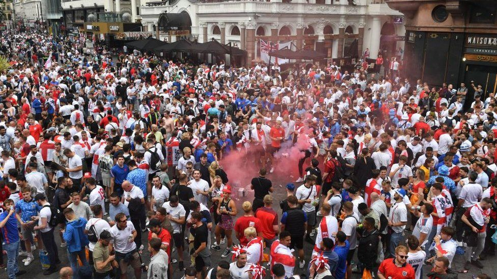 England fans in Leicester Square in central London