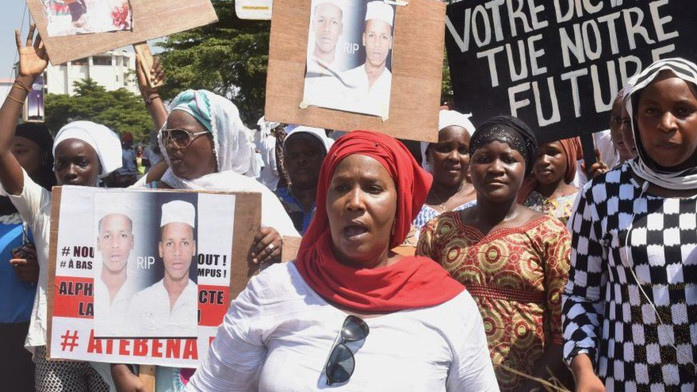 Women protesting in Conakry, Guinea, in November 2019