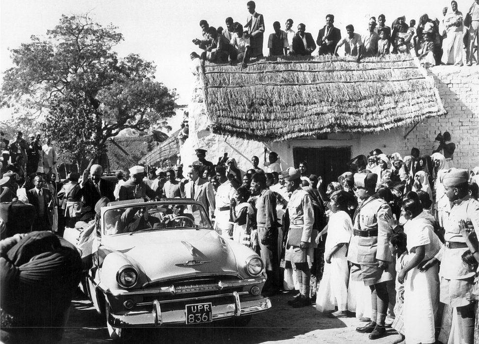 President Eisenhower drove in open car to small village to get a glimpse of rural India on December 13, 1959.