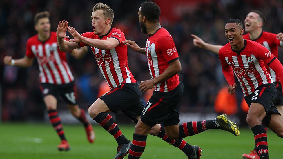 James Ward-Prowse celebrates a goal with his Southampton teammates