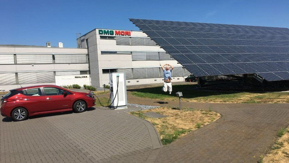 Roger Munford was delighted to find a charging point connected to solar panels on his trip to Poland