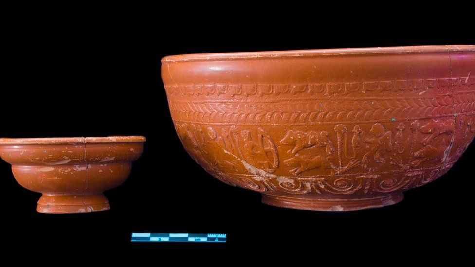 Scotch corner Samian bowl and cup