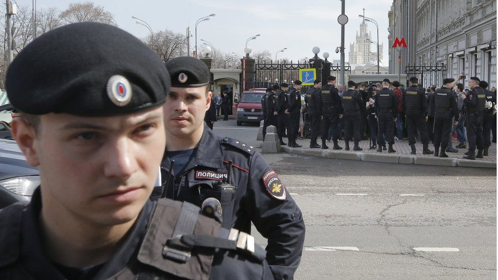 Russian policemen during an opposition rally in central Moscow, Russia, 29 April 2017