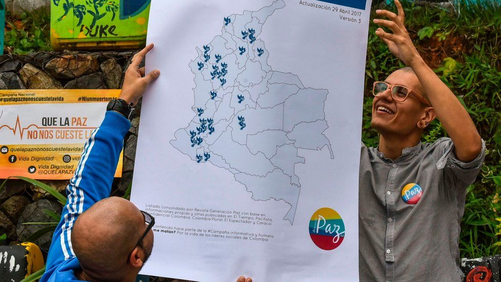At a protest in May, a map of Colombia was unveiled marked with the places where social leaders have been killed since the peace deal was signed